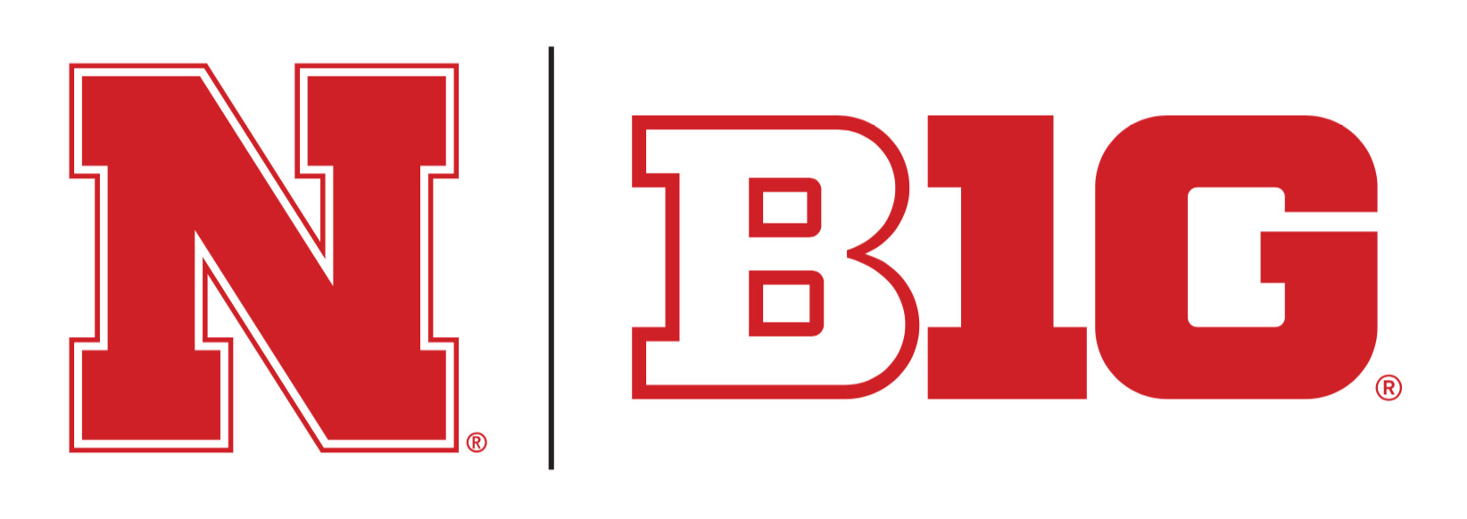 Nebraska logo lockup N left / BIG logo right