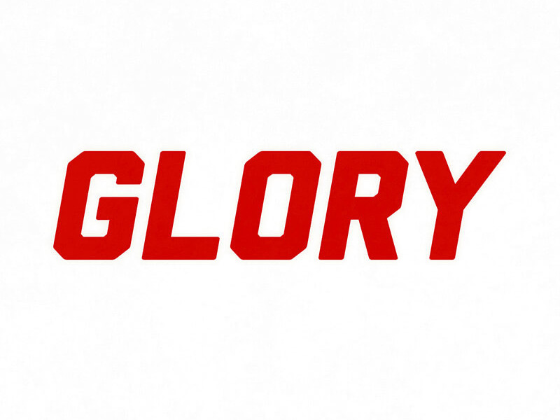 Red Glory text on white background