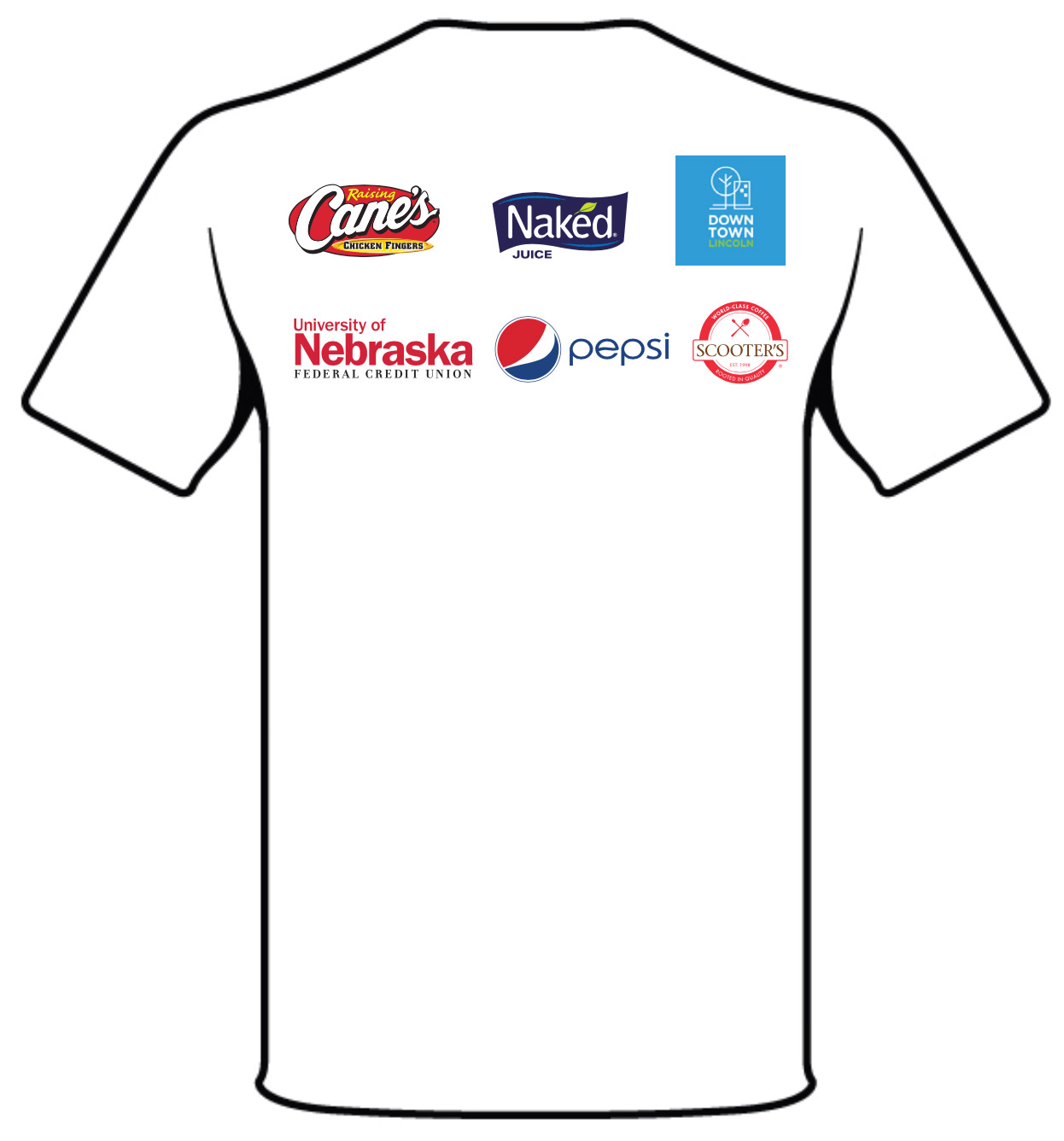 Back of t-shirt showing sponsor logos