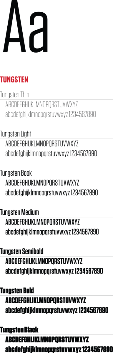 Tungsten font examples