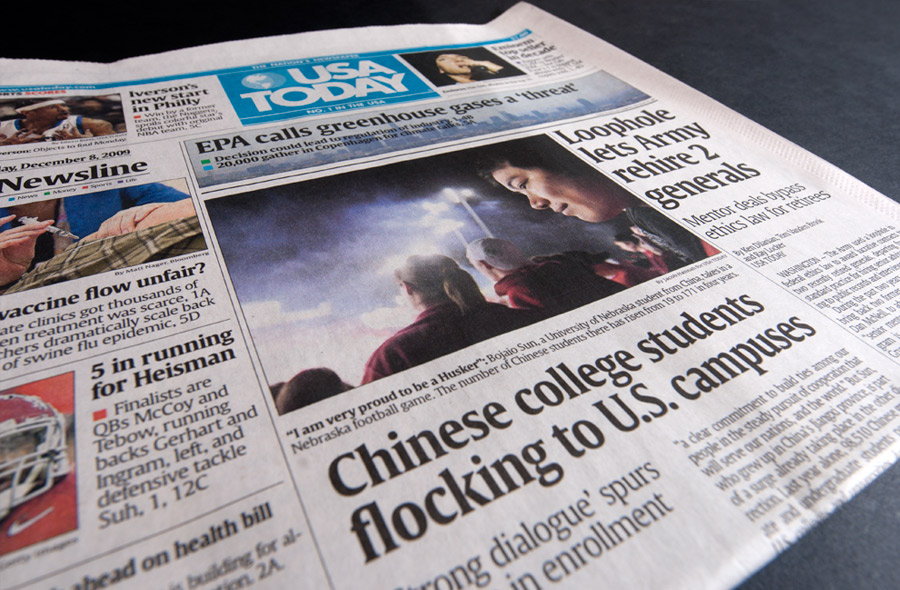 Portfolio National News Placement Usa Today Featuring Story On Chinese Students Studying In The United States